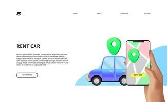 compartilhamento de aluguel de carro com mapas de aplicativos móveis vetor
