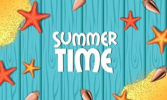 Olá feriado de verão com fundo de mesa de madeira