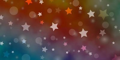 fundo azul, vermelho com círculos, estrelas.
