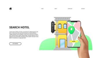 aplicativo móvel conceito de reserva de hotel online vetor