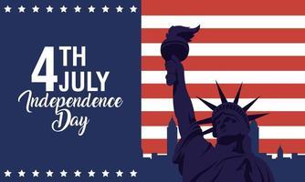 pôster do dia da independência dos Estados Unidos com a estátua da liberdade