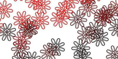 padrão de doodle vermelho com flores. vetor