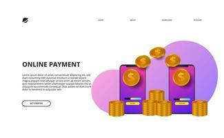 conceito de comércio eletrônico de finanças de negócios de pagamento online vetor