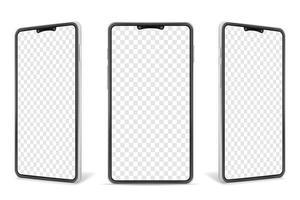 Conjunto de simulação em branco realista para smartphone vetor