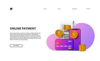 página de destino de pagamento online negócios finanças e-commerce vetor