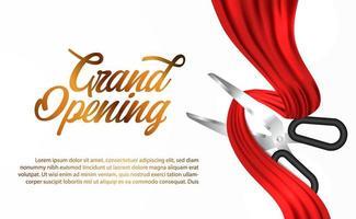 grande inauguração com tesoura de corte fita de seda vermelha