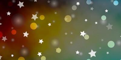 fundo vermelho e amarelo com círculos, estrelas.