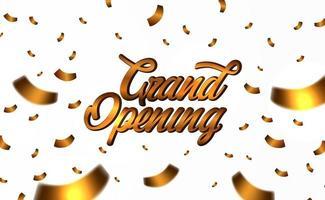 grande inauguração de texto dourado com confete dourado