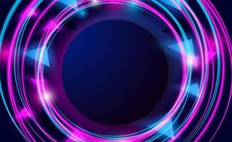 círculo redondo com linha neon rosa e ciano vetor