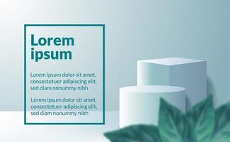 minimalismo moderno cubo 3D e display de cilindro de produto vetor