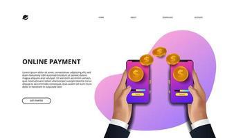 página de destino de pagamento online negócios finanças e-commerce