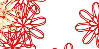 padrão de doodle de luz vermelha e amarela com flores.