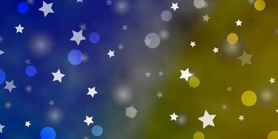 fundo azul, amarelo com círculos, estrelas.