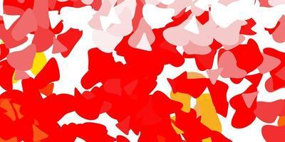 modelo vermelho com formas abstratas.