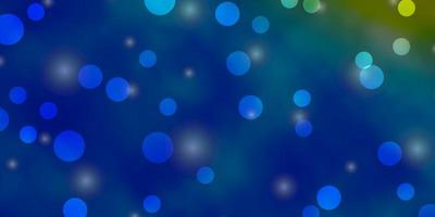textura azul clara, amarela com círculos, estrelas.