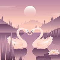 vetor de amor de cisnes