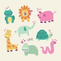 adoráveis animais apaixonados vetor