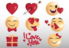 Valentine Emoji e etiqueta vetor
