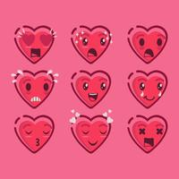 Cute Valentine Emoji De Corações Vector