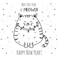 Vetor do Ano novo do gato