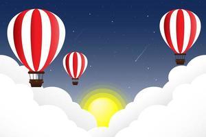 balões flutuando no céu com nuvens e sol