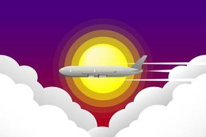 avião voando pelo sol e nuvens