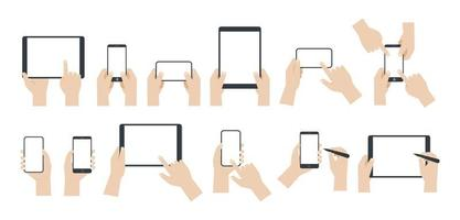conjunto de mãos usando smartphones e tablets