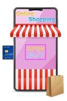 conceito de smartphone de compras online vetor