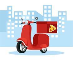 serviço delivery com motocicleta de pizza vetor