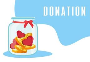 banner de caridade e doação com o pote cheio