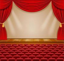 palco de teatro no corredor com cortinas e poltronas vetor