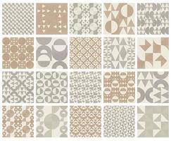Pacote de 20 padrões geométricos de meio-tom neutro vetor