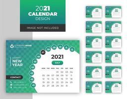modelo de design de calendário de mesa colorido de formato redondo vetor