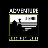 aventura escalada design de camiseta vintage vetor