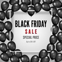 pôster preto de liquidação na sexta-feira com balões pretos brilhantes vetor