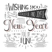Fundo do vetor de tipografia do ano novo