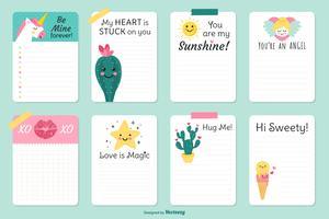 Artigos de papelaria bonitos do Valentim do vetor cartões de nota alinhados