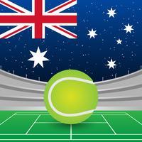 Bandeira da Austrália no fundo do estádio durante a ilustração do fósforo do tênis vetor