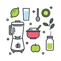 Ingredientes Smoothie Verde vetor