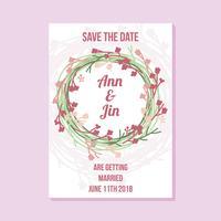 Mão de convite de casamento desenhada