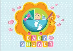 Menina do chuveiro de bebê com carrinho de bebê e estilo de bordado e Scrapbook vetor