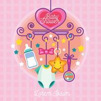 Design de cartão de convite de vetor de chuveiro de bebê