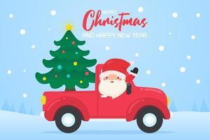 cartoon papai noel dirigindo carro vermelho para entregar árvore de natal