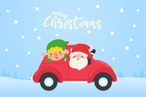 Papai Noel e elfo dirigem carro vermelho para entregar presentes