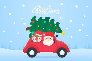 Papai Noel e uma rena dirigindo um carro vermelho com uma árvore de natal