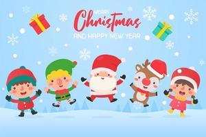 Papai Noel e amigos pulando de alegria na neve vetor
