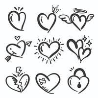 conjunto de corações desenhados à mão vetor