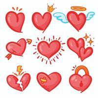 conjunto de coração de desenho animado vermelho vetor