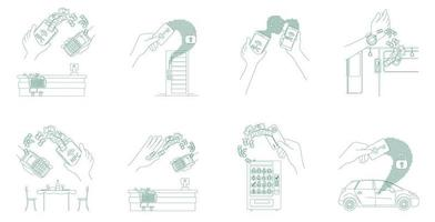 conjunto de dinheiro eletrônico e cartões-chave vetor