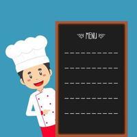 chef com modelo de menu vetor